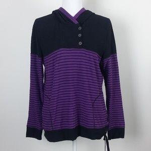 Lauren R/L Purple Striped Pullover Hoodie Large